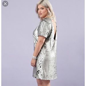Metallic sequin shift dress